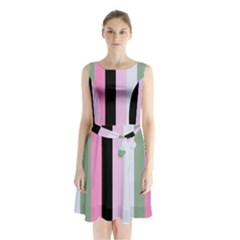 Electric Sunday Sleeveless Waist Tie Chiffon Dress