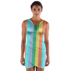 Summer Stripes Wrap Front Bodycon Dress