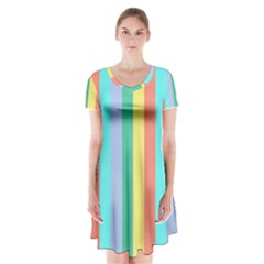 Summer Stripes Short Sleeve V Neck Flare Dress