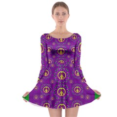 Peace Be With Us In Love And Understanding Long Sleeve Skater Dress