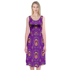 Peace Be With Us In Love And Understanding Midi Sleeveless Dress