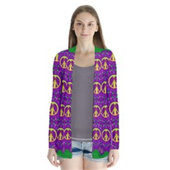 Peace Be With Us In Love And Understanding Drape Collar Cardigan