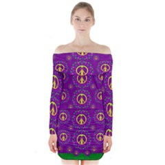 Peace Be With Us In Love And Understanding Long Sleeve Off Shoulder Dress