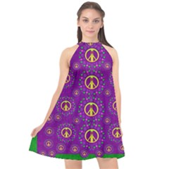 Peace Be With Us In Love And Understanding Halter Neckline Chiffon Dress