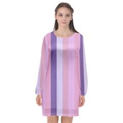 Violet Stars Long Sleeve Chiffon Shift Dress