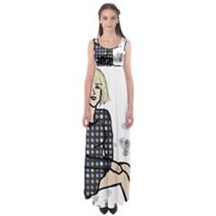 Girl Sitting Empire Waist Maxi Dress