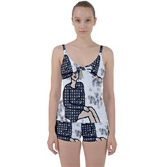 Girl Sitting Tie Front Two Piece Tankini