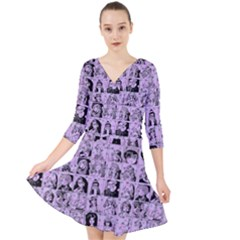 Lilac Yearbok Quarter Sleeve Front Wrap Dress