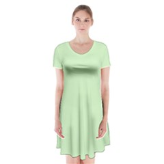 Baby Green Short Sleeve V Neck Flare Dress