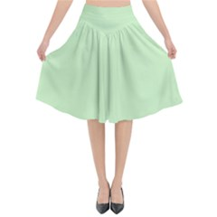 Baby Green Flared Midi Skirt