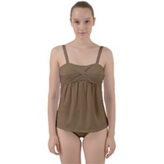 Brownish Twist Front Tankini Set
