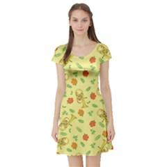 Tuba And Flower Pattern Short Sleeve Skater Dress