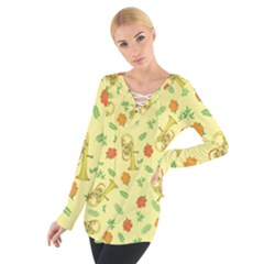 Tuba And Flower Pattern Tie Up Tee
