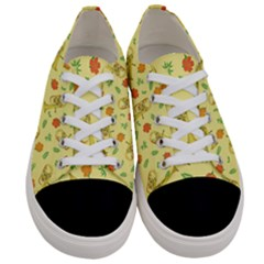 Tuba And Flower Pattern Women s Low Top Canvas Sneakers