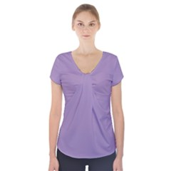 Grape Light Short Sleeve Front Detail Top