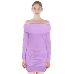 Baby Purple Long Sleeve Off Shoulder Dress