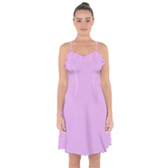 Baby Purple Ruffle Detail Chiffon Dress