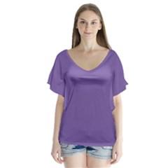 Purple Star V Neck Flutter Sleeve Top