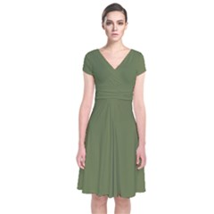 Earth Green Short Sleeve Front Wrap Dress