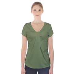Earth Green Short Sleeve Front Detail Top