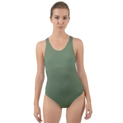 Army Green Cut Out Back One Piece Swimsuit