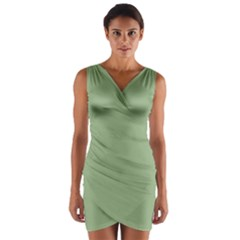 Tree Green Wrap Front Bodycon Dress