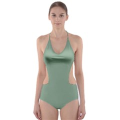 Mossy Green Cut Out One Piece Swimsuit