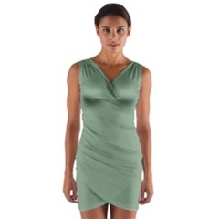 Mossy Green Wrap Front Bodycon Dress