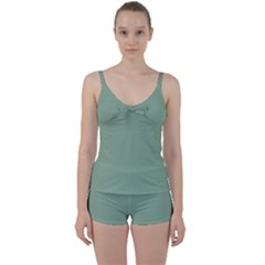 Mossy Green Tie Front Two Piece Tankini
