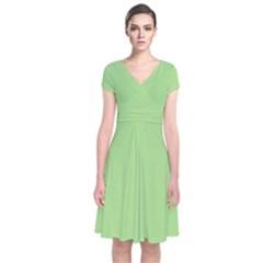 Pistachio Taste Short Sleeve Front Wrap Dress