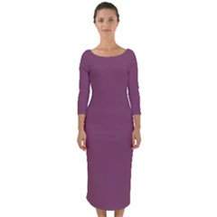 Medium Grape Quarter Sleeve Midi Bodycon Dress
