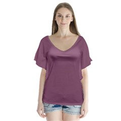 Medium Grape V Neck Flutter Sleeve Top