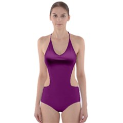 Magenta Ish Purple Cut Out One Piece Swimsuit