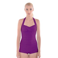 Magenta Ish Purple Boyleg Halter Swimsuit