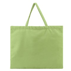 Grassy Green Zipper Large Tote Bag