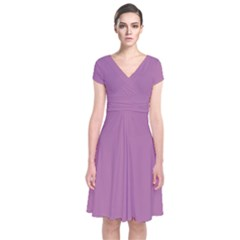 Silly Purple Short Sleeve Front Wrap Dress