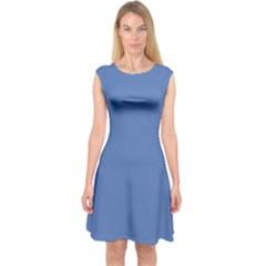 Greyish Ocean Capsleeve Midi Dress
