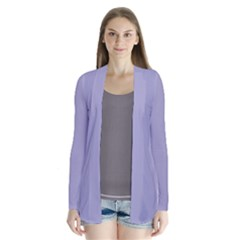 Grey Violet Drape Collar Cardigan