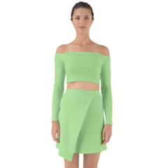 Meadow Green Off Shoulder Top With Skirt Set