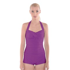 Grape Purple Boyleg Halter Swimsuit