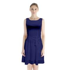 Dark Navy Sleeveless Waist Tie Chiffon Dress