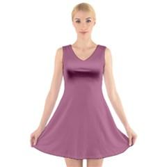 Rose Grey V Neck Sleeveless Skater Dress