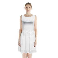Dove Sleeveless Waist Tie Chiffon Dress