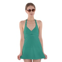 Teal Ocean Halter Dress Swimsuit