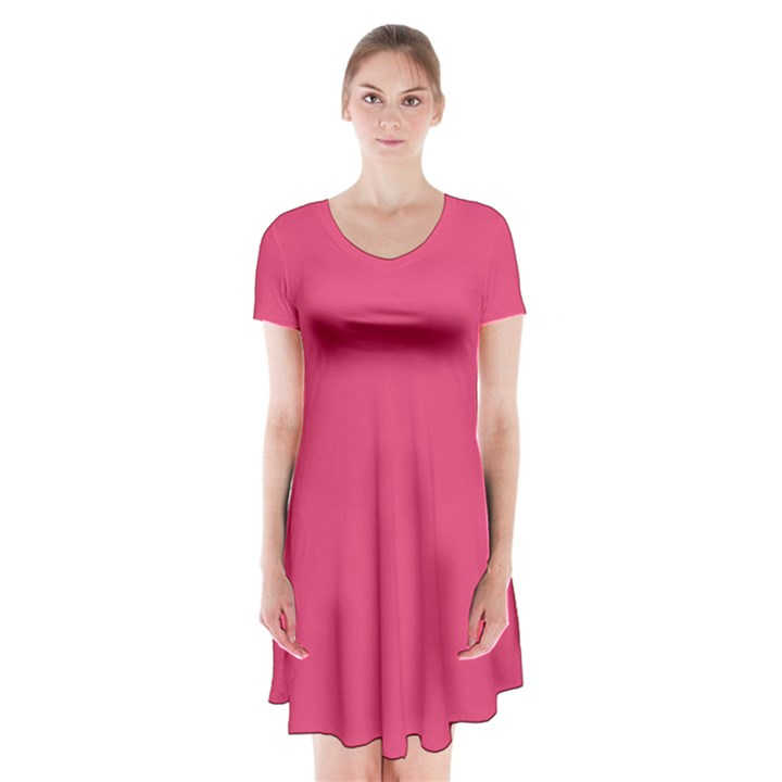 Rosey Day Short Sleeve V-neck Flare Dress