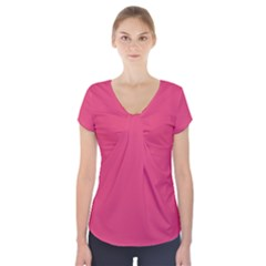 Rosey Day Short Sleeve Front Detail Top