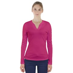 Rosey Day V Neck Long Sleeve Top
