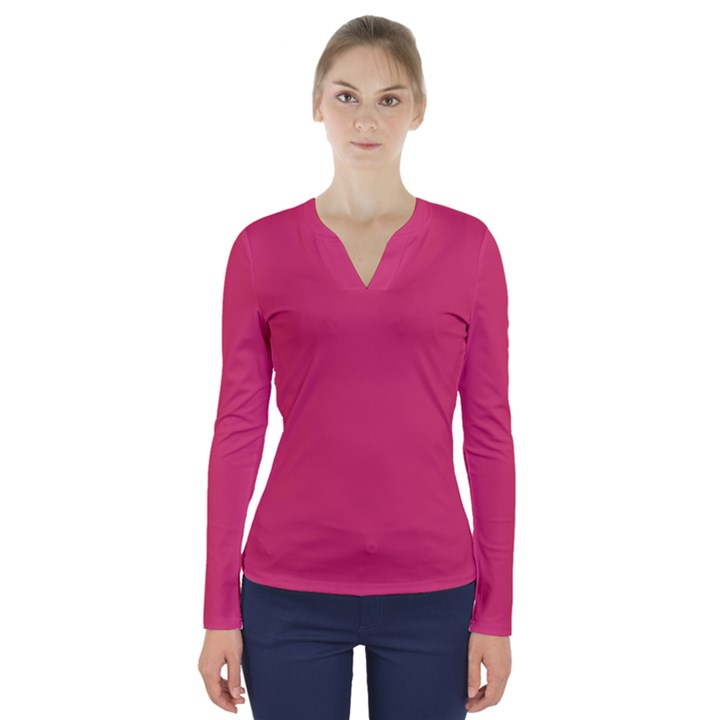 Rosey Day V-Neck Long Sleeve Top