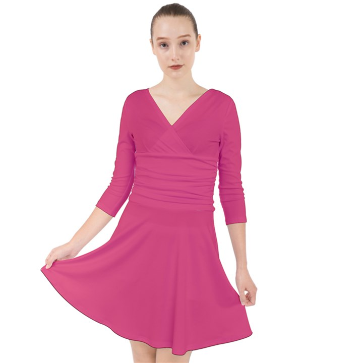 Rosey Day Quarter Sleeve Front Wrap Dress