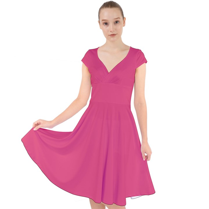 Rosey Day Cap Sleeve Front Wrap Midi Dress